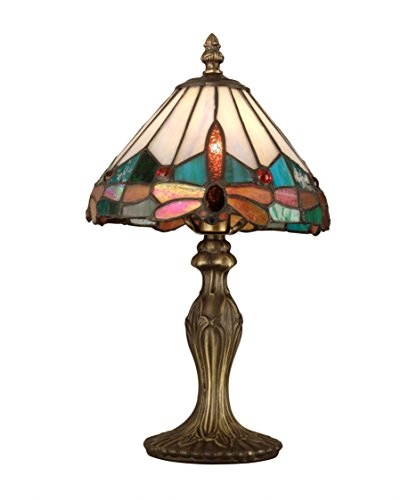 Dale Tiffany TA10606 Tiffany Jewel Dragonfly Accent Lamp, Antique Brass
