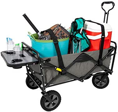 Mac Sports Collapsible Outdoor Utility Wagon with Folding Table and Drink Holders with Straps, Gray