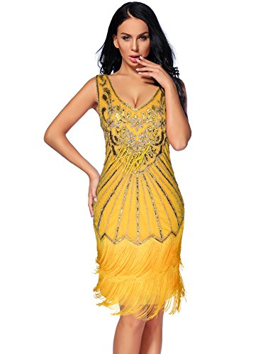 Women's 1920s Flapper Dress Sequin Embellished Gatsby Tassels Cocktail Dress (Yellow, M) ()