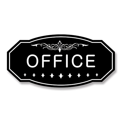 OFFICE Victorian Door/Wall Sign (Black) - Large 5'' x 10'' by All Quality (Image #1)