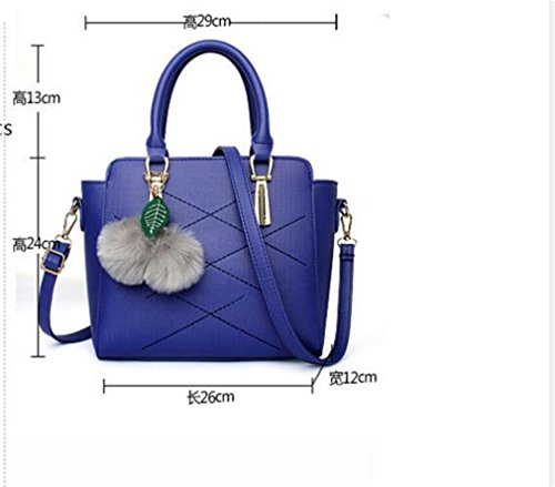 Fashion Bags Messenger Fox Fur Crossbody Leather PU Women Handbag Ball Bag With Casual Grey Female Tassel Tote 8qEEw