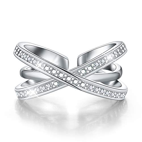 Madeone ✦18K White Gold Plating Excellent Cut Cubic Zirconia CZ Stone Open Triple X Crisscross Ring for Women with Box ()
