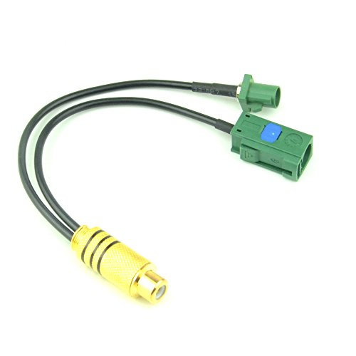RF design RF Pigtail Cable Green Fakra ''E'' Jack with Female Basket and Green Fakra ''E'' Plug with Male Center Pin RG174 6'' for Auto Rear View Camera by RF design