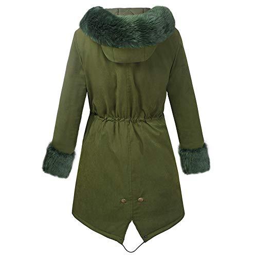 Grande D'hiver Veste Pour En Manteau Fourrure Taille Green Doublé Femme Fausse Capuchon À PnRnOxFgqw