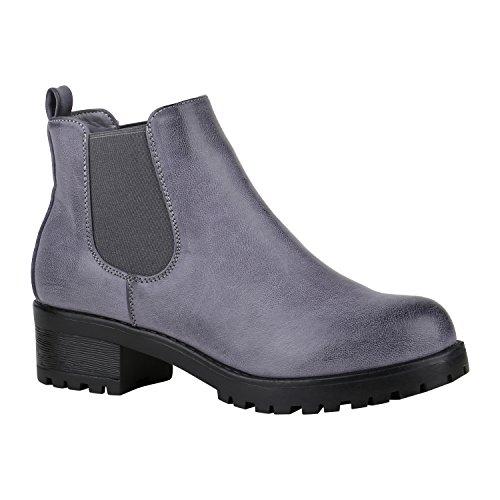 Stiefelparadies Damen Stiefeletten Chelsea Boots mit Blockabsatz Profilsohle Flandell Blau Camiri