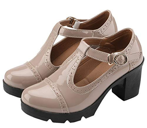 DADAWEN Women's Classic T-Strap Platform Mid-Heel Square Toe Oxfords Dress Shoes Apricot US Size 4.5 ()
