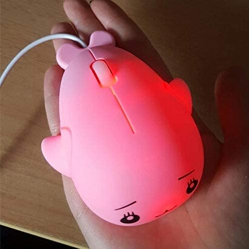Pink Color : Pink Gaming Mice KANEED Cute Cartoon Wired Mouse Girl Office Home Laptop Mouse