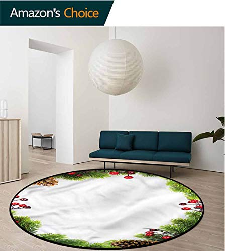 RUGSMAT Christmas Round Area Rug,Xmas Frame Pine Cones Non-Slip Bathroom Soft Floor Mat Home Decor Round-55