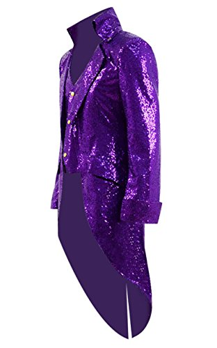 Very Last Shop Mens Gothic Tailcoat Jacket Black Steampunk Victorian Long Coat Halloween Costume (US Men-M, Purple(Sequin))]()