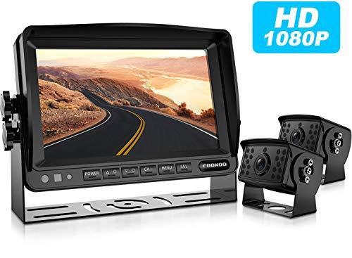 (HD Backup Camera System Kit,7''1080P Reversing Monitor+IP69 Waterproof Rear View Camera,Sharp CCD Chip, 100% Not Wash Up,Truck/Semi-Trailer/Box Truck/RV (FHD2-Wired))