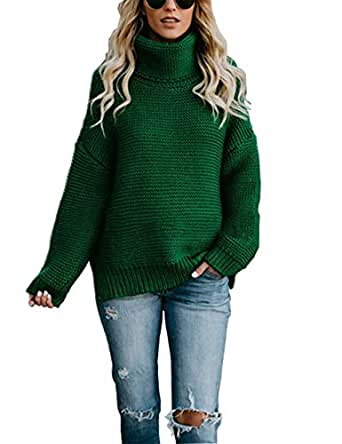 HYCYG Women's Long Sleeve Chunky Knit Pullover Solid Casual Winter Jumper Turtleneck Sweater Green S