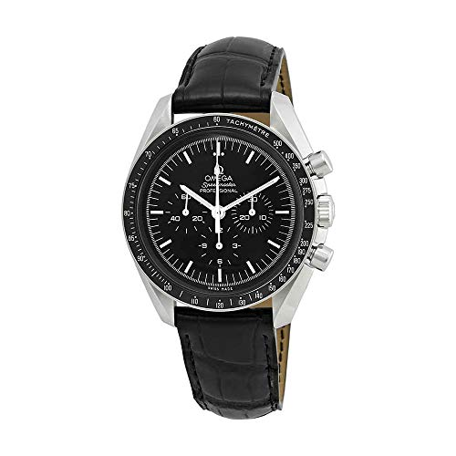 Omega Speedmaster Chronograph Black Dial Black Leather Mens Watch 31133423001001 - Moon Omega Watch Speedmaster