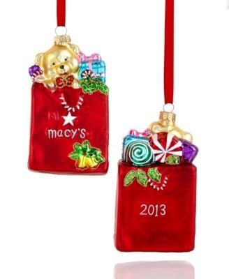 Macy's Signature Keepsake Shopping Bag Glass Christmas Ornament 2013 - Shopping Macy's