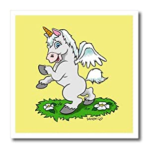 3dRose ht_2848_1 Unicorn Art on Yellow Iron on Heat Transfer for White Material, 8 by 8-Inch