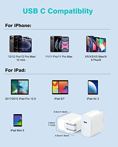 iPhone Fast Charger, 20W USB C Charger for iPhone 12/12 Pro Max/12 mini/11/11 Pro/SE/XR/XS/X/8, iPad Pro 12.9 Gen 2/1, iPad 8/7/Air 3/Mini 5, LED, Foldable, 6.6ft MFI Certified C to Lightning Cable