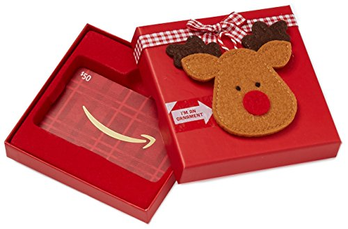Amazon.ca $50 Gift Card in a Reindeer Ornament Box