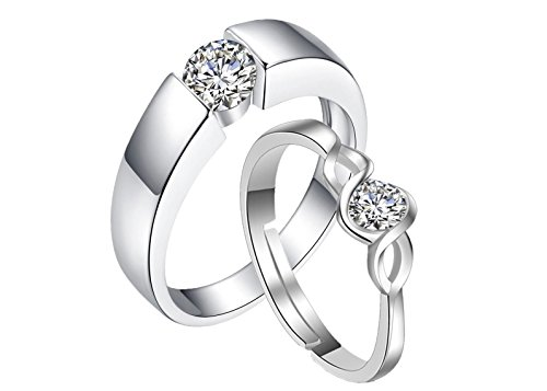dc jewels Crystal Alloy Adjustable Ring for Unisex Adult  Silver