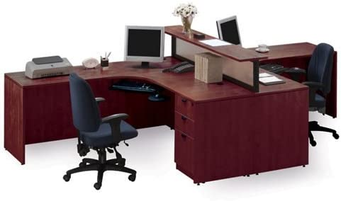 Amazon Com Cherry Two Person Workstation With Divider Kitchen Dining