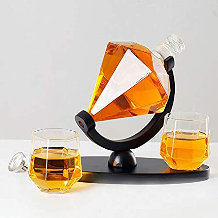 WANGIRL Elegante Juego de Jarra de Whisky de Vidrio 850 ML Decantador de Diamante Whisky Botella de Whisky con 2 Vaso de Whisky Diseño Diamante Personalizado Idea de Regalo Hecho a Mano Único
