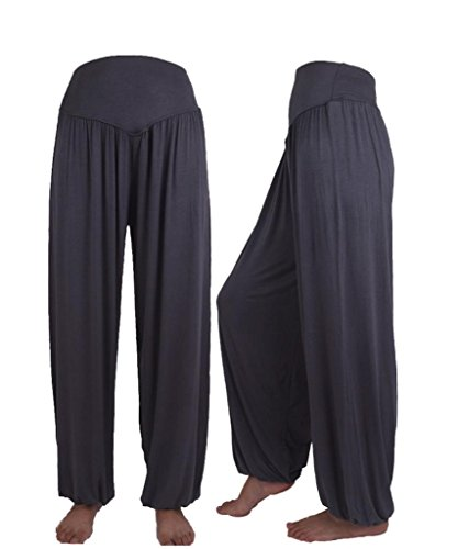 - Kanzd Yoga Pants, Colorful Womens Elastic Loose Casual Modal Cotton Soft Yoga Sports Dance Harem Pants (M, Dark Gray)