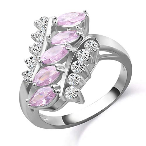 Copper Jewelry 2018 Cocktail Party Band Silver Color Ring Marquise Ring Unique Pink Crystal Cz Zircon Ring for Women Jewelry Gift 6 Silver 2
