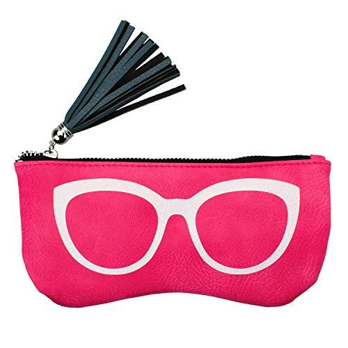 Vemiss Eyeglasses Pouch PU Leather Makeup Storage Pouch Portable Zipper Sunglasses Case ()