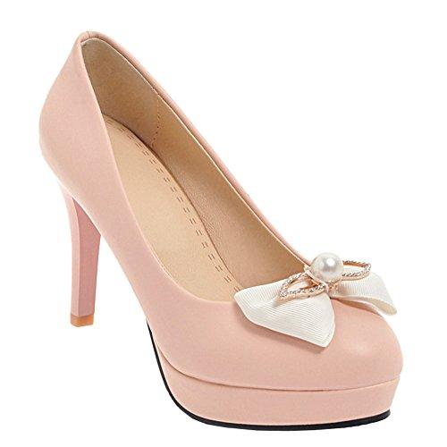Cute Bow Pumps Dress Latasa Heels Pink High Latasa Womens Womens ItwqPfS