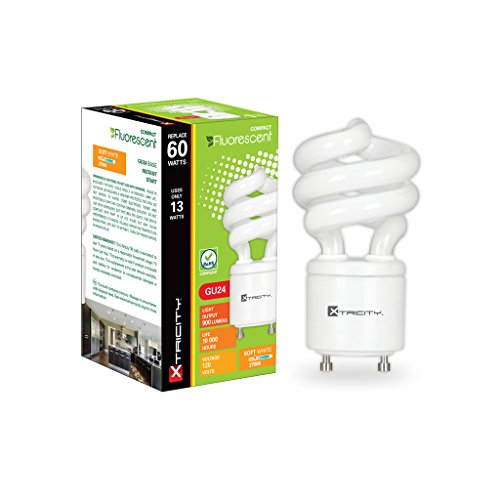 Xtricity 13 Watt CFL Twist GU24 Bi-Pin Base Self-Ballast Light Bulb, (60W Incandescent Equivalent) 120V, E26 Medium Base, 900 Lumens, 2700K Soft White (Pack of 6) - Twist 2700k Light Bulb