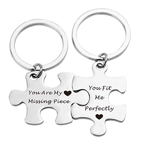 EIGSO Couples Puzzle Piece Keychains Keyring Puzzle Jewelry Couple Gift You are My Missing Piece,You Fit Me Perfectly