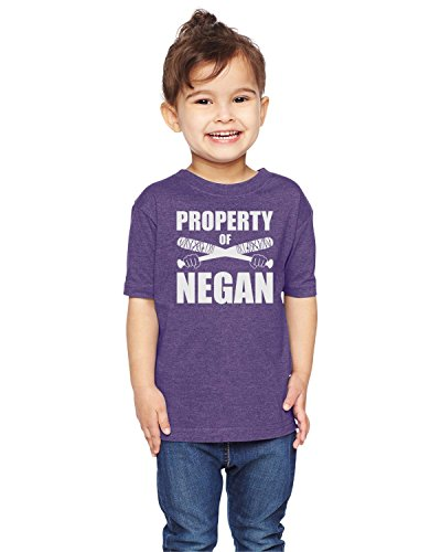 Brain Juice Tees Property Of Negan The Walking Dead Unisex Toddler Shirt (5/6T, Vintage Purple) (Vintage Walking T-shirt)