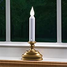 2 Pack-Antique Base LED Window Candle, Battery Operated, Auto Sensor, White