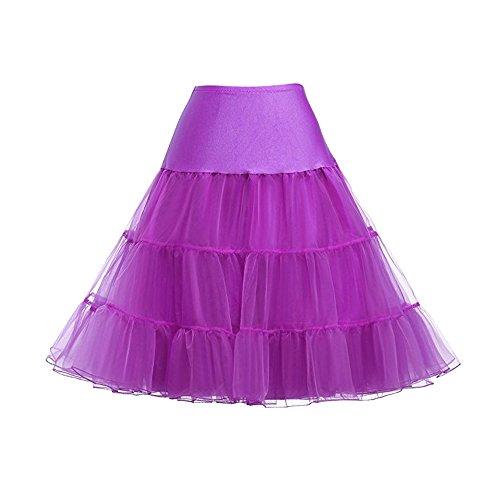 Jupons 50s Violet Tulle Femme Underskirt Vintage Petticoat Tutu Sfit Jupe HwUARqA8