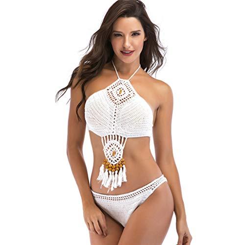 MmNote Women Sexy Floral Padded Retror Knit Crochet Lace Halte Bikini, Beach Bathing Swimwear Suit White