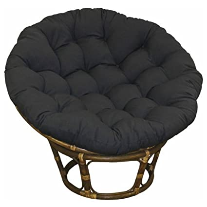 Good Large Black 44 Inch Microsuede Papasan Round Lounge Chair Seat Cushion  Pillow For Maximum Comfort