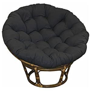 Superb Large Black 44 Inch Microsuede Papasan Round Lounge Chair Seat Cushion  Pillow For Maximum Comfort