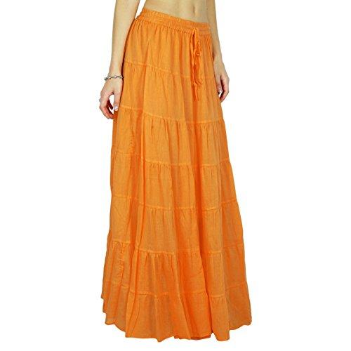 Phagun Jupe longue Maxi jupe vtements de plage coton vtements d't Vtements Orange