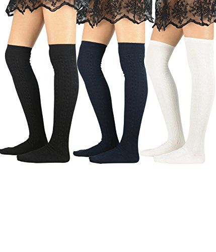 - Zando Women's Fashion Casual Knit Stretch Over The Knee Socks Cotton Warm Solid Color Long Thigh High Stockings 3 Pack Black White Navyblue One Size