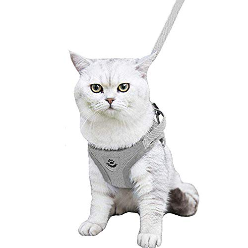 Grey Harness Mesh Reflective - Kamots Beauty Escape Proof Dog Cat Harness and Leash with Reflective Strap Soft Mesh Adjustable Vest with Lead for Kitten Puppy Rabbit Small Pet Walking -(Grey,XS)
