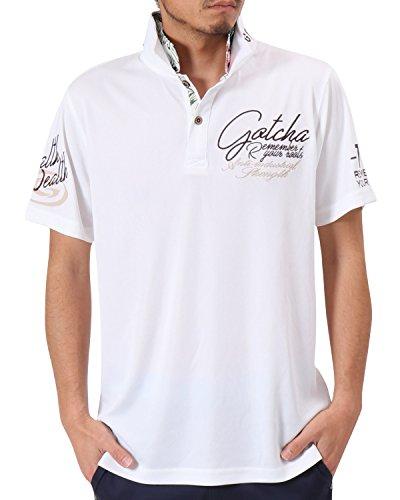 [ガッチャ ゴルフ] GOTCHA GOLF ポロシャツ ボタニカル 柄使い ポリフライス 接触冷感 シャツ 182GG1214 ホワイト XXXLサイズ