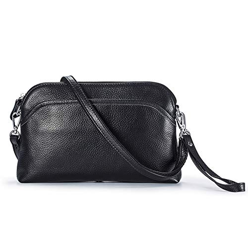 Lecxci Small Women's Soft Vintage Leather Crossbody Travel Smartphone Bag Wristlets Clutch Wallet Purse (leather with lichee pattern,Black)