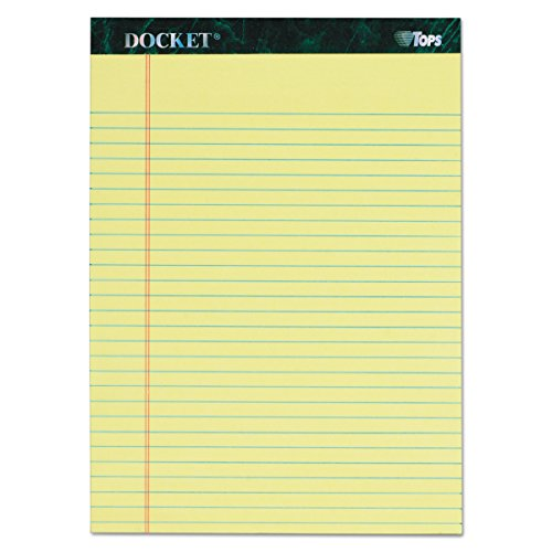 - TOPS Docket Writing Tablet, 8-1/2 x 11-3/4 Inches, Perforated, Canary, Legal/Wide Rule, 50 Sheets per Pad, 6 Pads per Pack (63406)