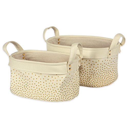 DII Heavy Duty Canvas Laundry Basket or Bin, Perfect In Your Bedroom, Nursey, Dorm, Closet, Laundry Room, For Clean and Drity Clothes and Home Organization, Assorted Set of 2 - Gold Confetti - Paper Hamper Set