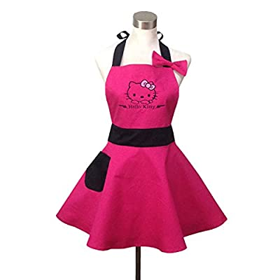 Lovely Hello Kitty Pink Retro Kitchen Aprons for Woman Girl Cotton Cooking Salon Pinafore Vintage Apron Dress