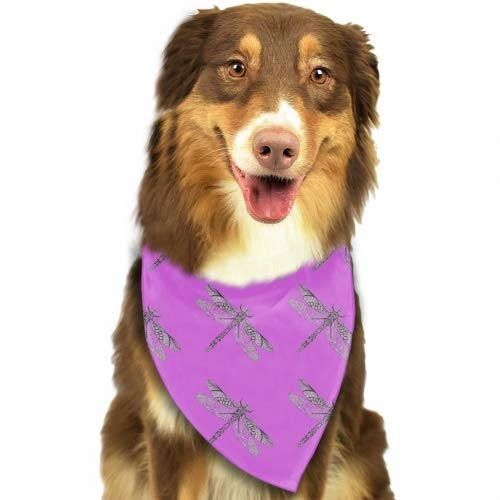 (Dog Bandanas Pack Washable Triangle Bibs Scarfs Purple Dragonfly Reversible Plaid Printing Kerchief for Dogs and Cats)