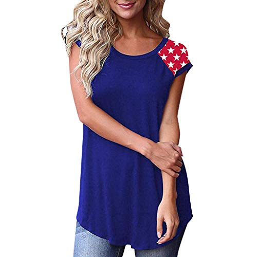 perfectCOCO ❤️ Women Tops Short Sleeve O-Neck Loose Casual Tee T-Shirt Blouse Independence Day Blue