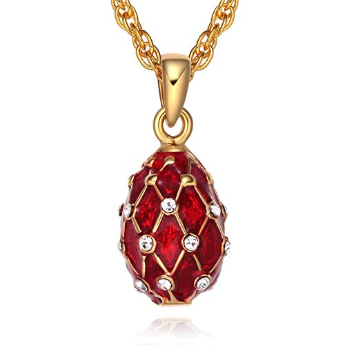 TF Charms Mini Size Russian Royal Faberge Egg Pendant Necklace 18