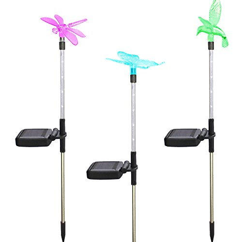 Morning Star Solar Garden lights, 3-Pack Solar Stake Light Hummingbird Butterfly Dragonfly, LED outdoor waterproof lights, solar street lights, landscape lights, suitable for weddings, gardens, (Hummingbird Garden Stake)