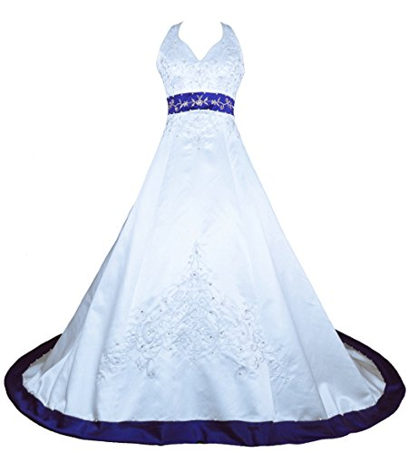 RohmBridal-Embroidery-Satin-Halter-Wedding-Dress-Bridal-Gown-White-Royal-Blue-Size-8