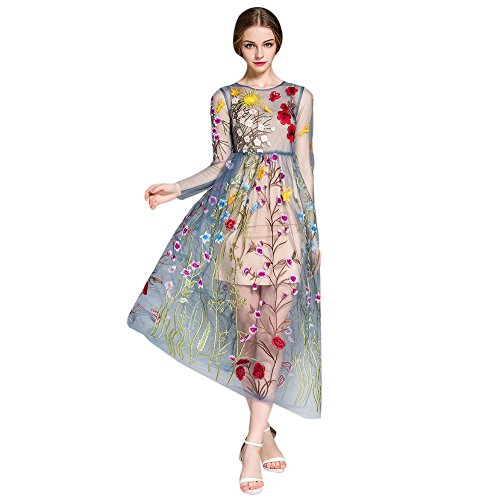 Floral Embroidered Dress - DEZZAL Women's Floral Embroidered Tulle Prom Maxi Dress with Cami Dress (M, Blue)