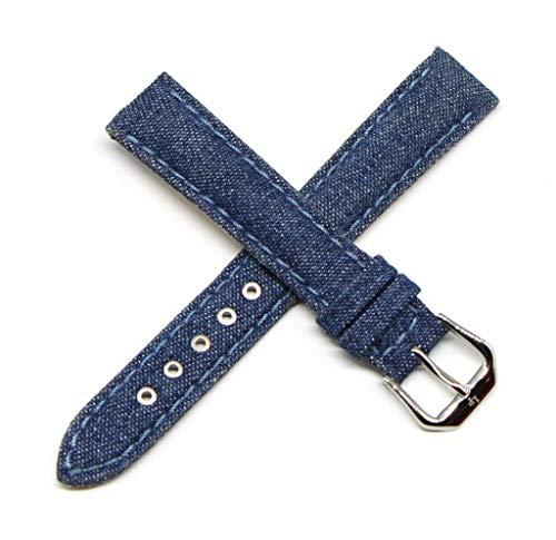"Lucien Piccard 16MM Denim Blue Genuine Leather Watch Strap 7.5"" Silver LP Initial Buckle"